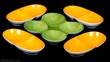 Tackett for Shmid Porcelain Orange and Green Bowls