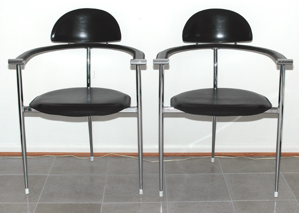 Italian Arrben Leather and Chrome Chairs