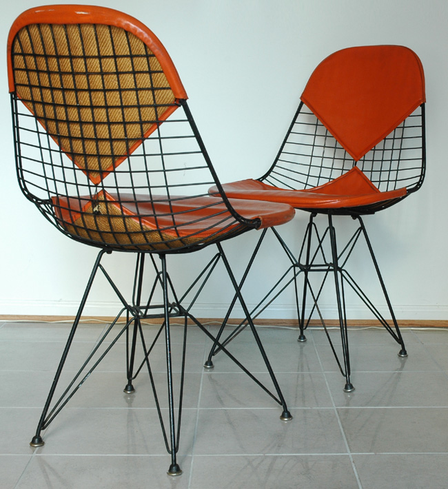 Pair of Eames DKR wire Bikini Chairs