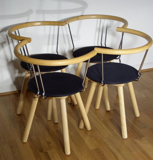 MOD Beech and Chrome Dining Chairs