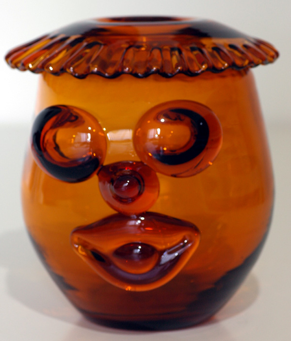 Blenko #6525 Clown Face Vase