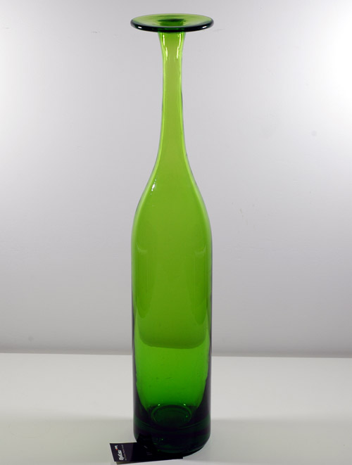 Blenko #6937 Olive Flat Top Bottle
