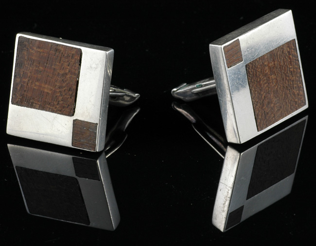 Large C Lopez Silver and Wood Cufflinks