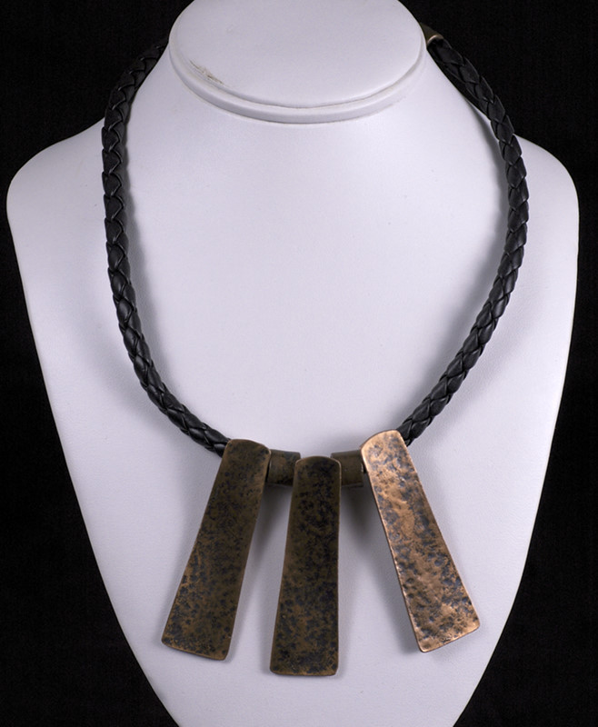 Copper Necklace on braided leather