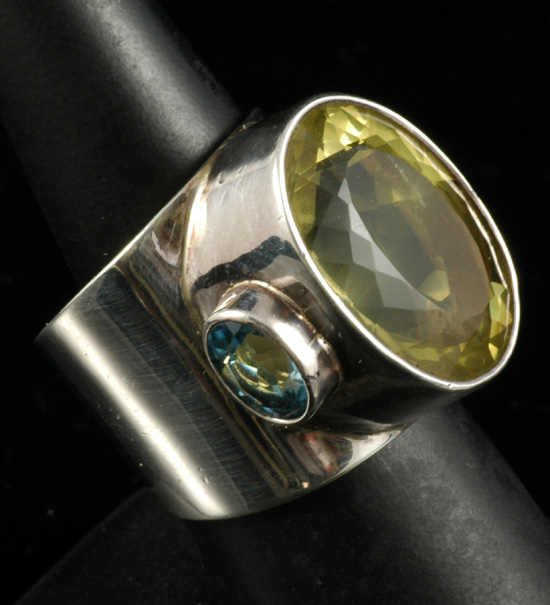 Sterling - Citrine and Blue Topaz ring