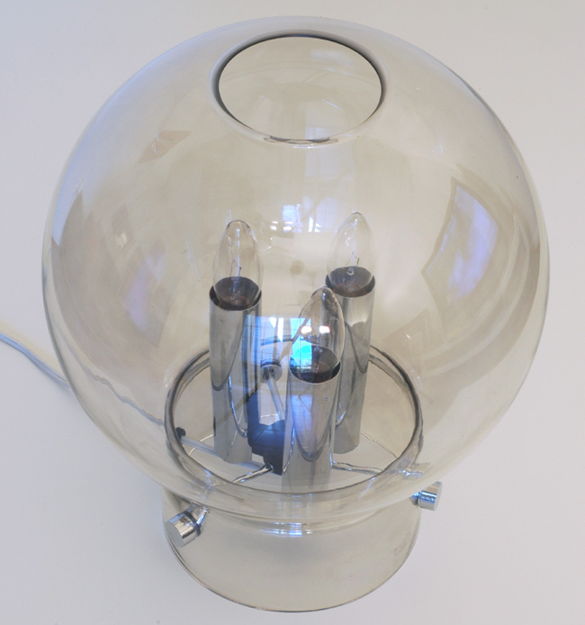 Glass and Chrome Orb Table Lamp