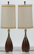 Walnut and Brass Lamps