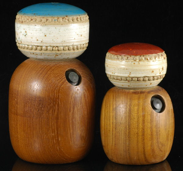 Teak and Ceramic Salt and Pepper Grinders