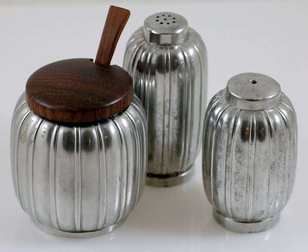 Just Andersen Pewter Salt Pepper and Mustard Condiment Set