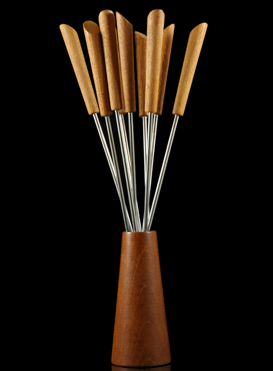 Danish Teak Fondue Fork Set
