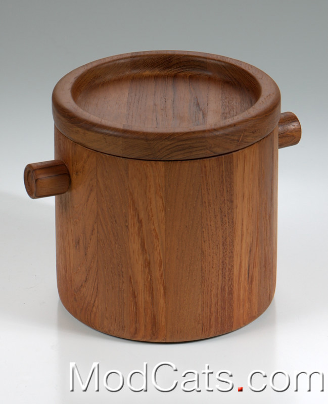 Unsigned Danish teak ice bucket 2.