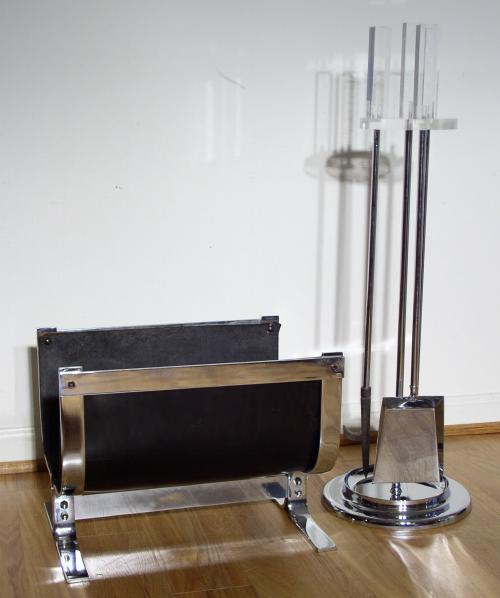 Chrome, Lucite & Leather Fire Set