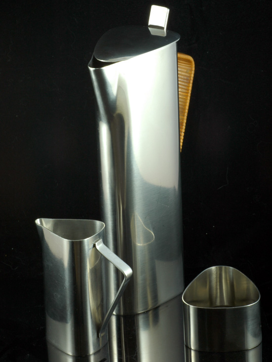 1960s Lundtofte (Denmark) stainless steel coffee set