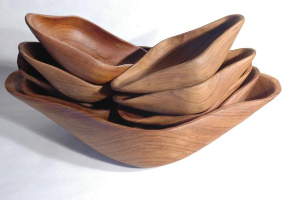 Teak Biomorphic 9-piece Salad Set